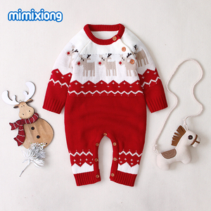 Image 2 - Baby Rompers Christmas Newborn Boys Girls Jumpsuits Costumes Cartoon Knitted Childrens Overalls One Piece Infant Kids Outfits