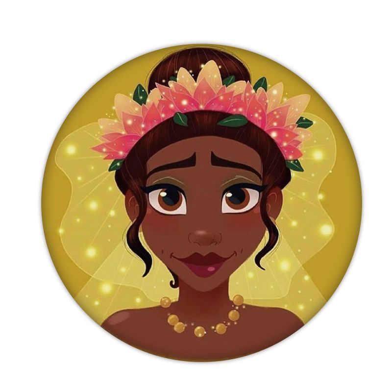 9 pçs/lote Princesa Branca de Neve Cinderela Elsa Plástico Redondo Botão Pinos Broches Desenhos Animados Meninas Presente cosplay Traje Anime Crachá