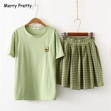 Merry Pretty, хлопковый Женский комплект из двух предметов, футболка с вышитыми фруктами и клетчатая плиссированная юбка,, футболки с коротким рукавом и круглым вырезом