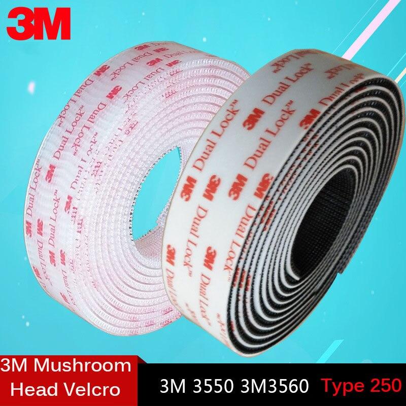 1meter 3m Dual Lock Sj3550 Black And Sj 3560transparent Mushroom Adhesive Fastener Tape Type 250/25.4mm Width Velcros Adhesivo