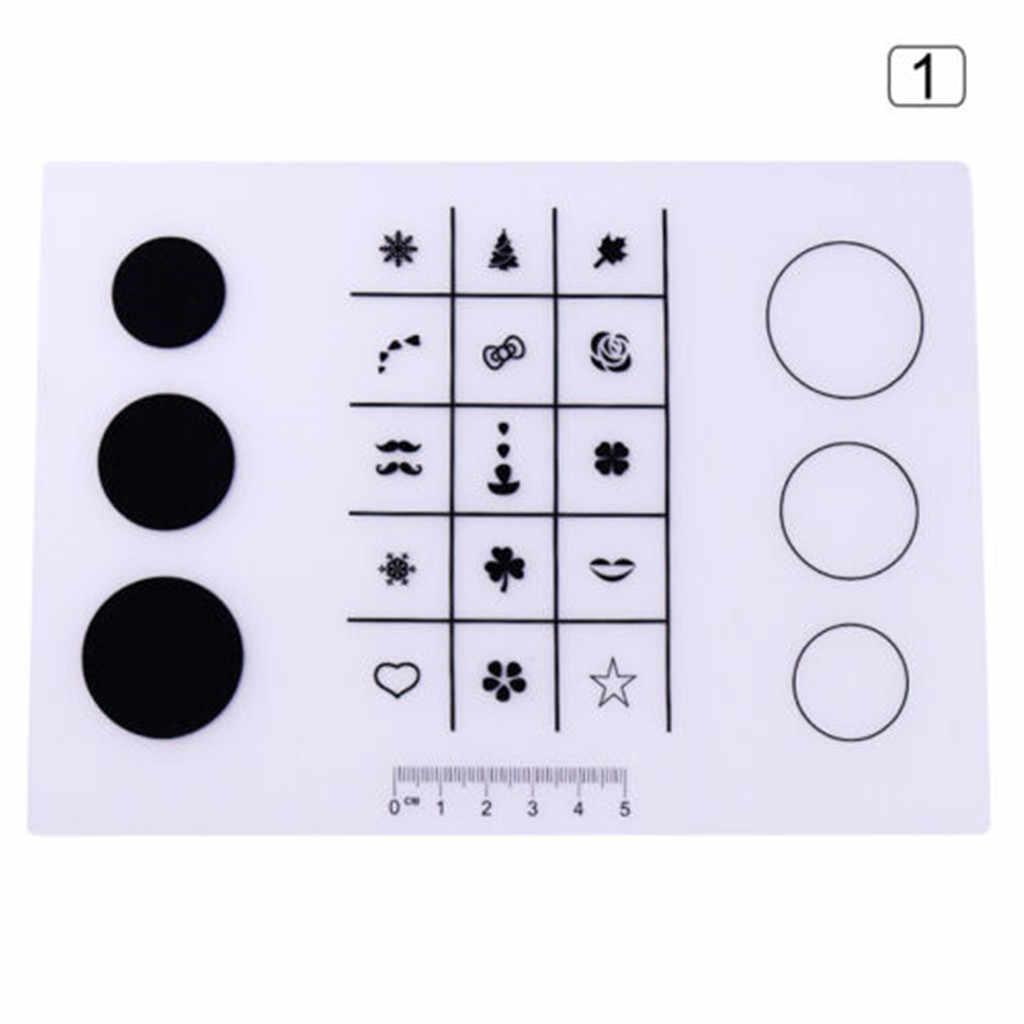 Mini Silikon Stamping Mat Kuku Praktek Kuku Template Pad untuk Gel Polish Magic Kuku Seni Manikur Alat Drop Pengiriman