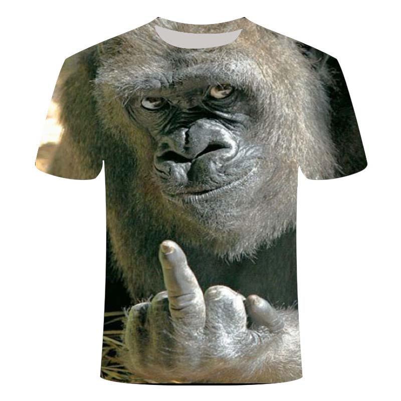 Men Animal T Shirt Orangutan/monkey 3D Print Tshirt Men Funny Tees Tops Short Sleeve O-neck 3D Print Summer Clothes S-6XL
