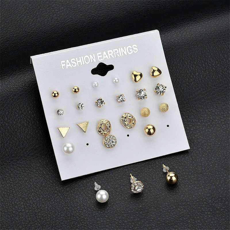 Hot Sale 12 Pair/set Women Square Crystal Heart Clip Earrings for Women Piercing Simulated Pearl Flower Earrings