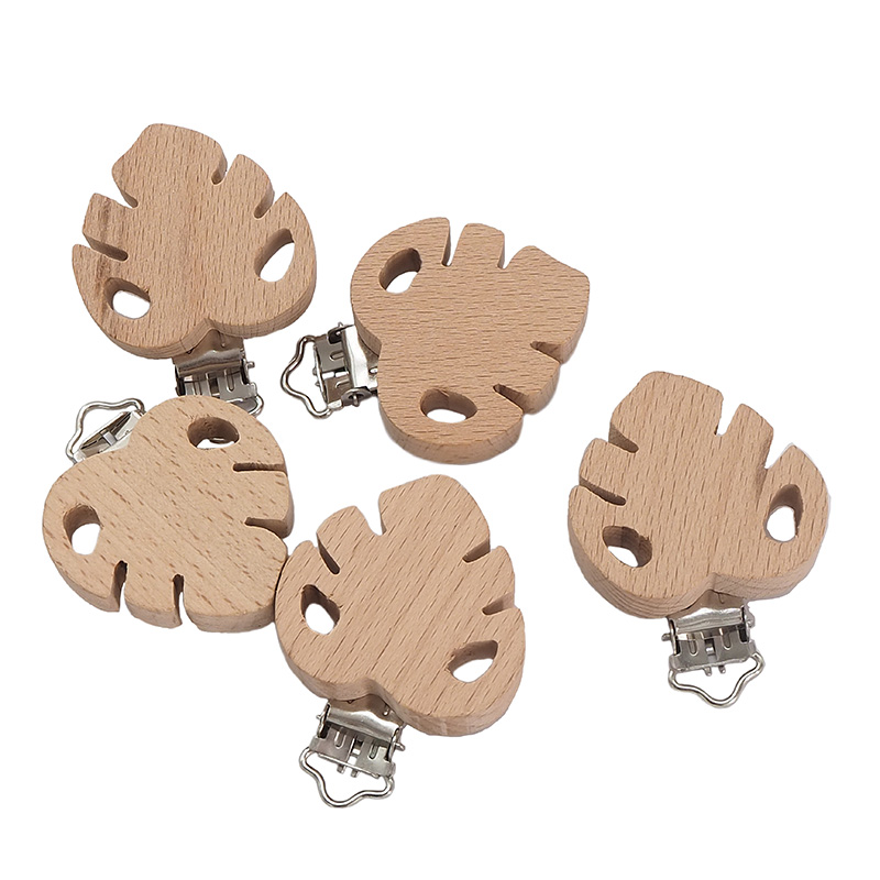 Chenkai 50PCS Wooden Leaf Shaped Pacifier Clips DIY Organic Eco-friendly Nature Baby Rattle Teething Grasping Wooden Toy Gift
