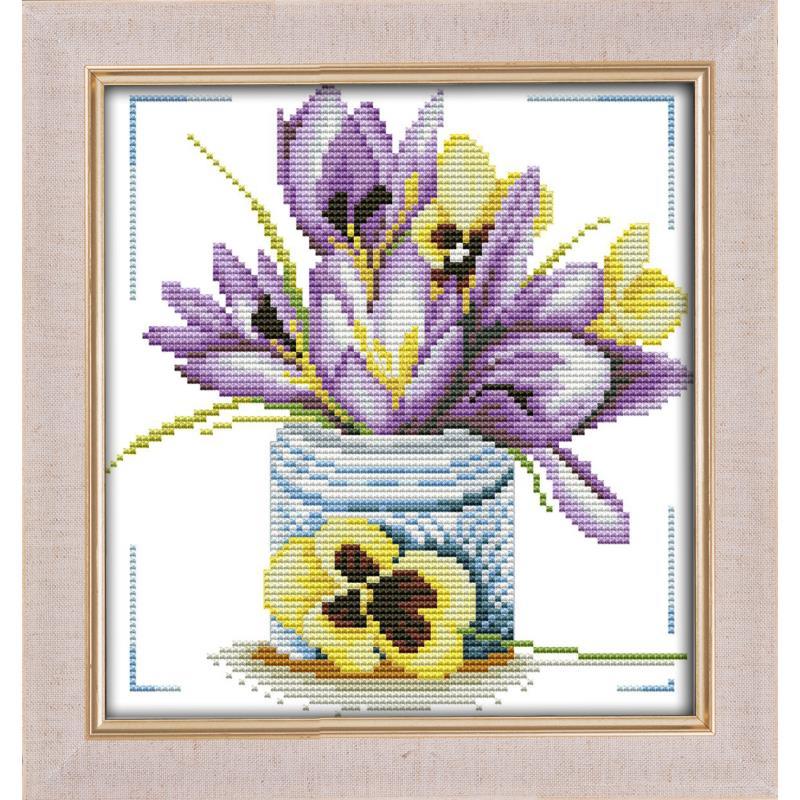 Cross Stitch Stamped Kits Lavender Printed Patterns Embroidery Needlepoint Kits