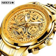 NIBOSI męskie zegarki Relogio Masculino modny Top marka luksusowy zegarek kwarcowy mężczyźni dorywczo luksusowy wodoodporny szkielet zegarek męski
