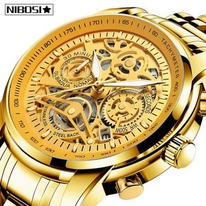 Image 1 - Nibosiメンズ腕時計レロジオmasculinoファッショントップブランドの高級クォーツ時計男性カジュアル高級防水スケルトン男性腕時計
