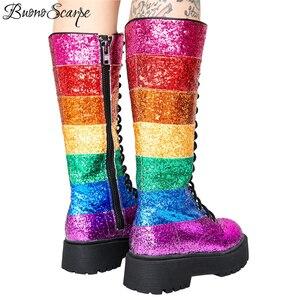 Image 2 - Buono Scarpe Bling Blingผู้หญิงกลางลูกวัวรองเท้าบูทรองเท้าผู้หญิงสายรุ้งSequined Botas Fenimina Crossผูกสุภาพสตรีรองเท้า 2019 ใหม่