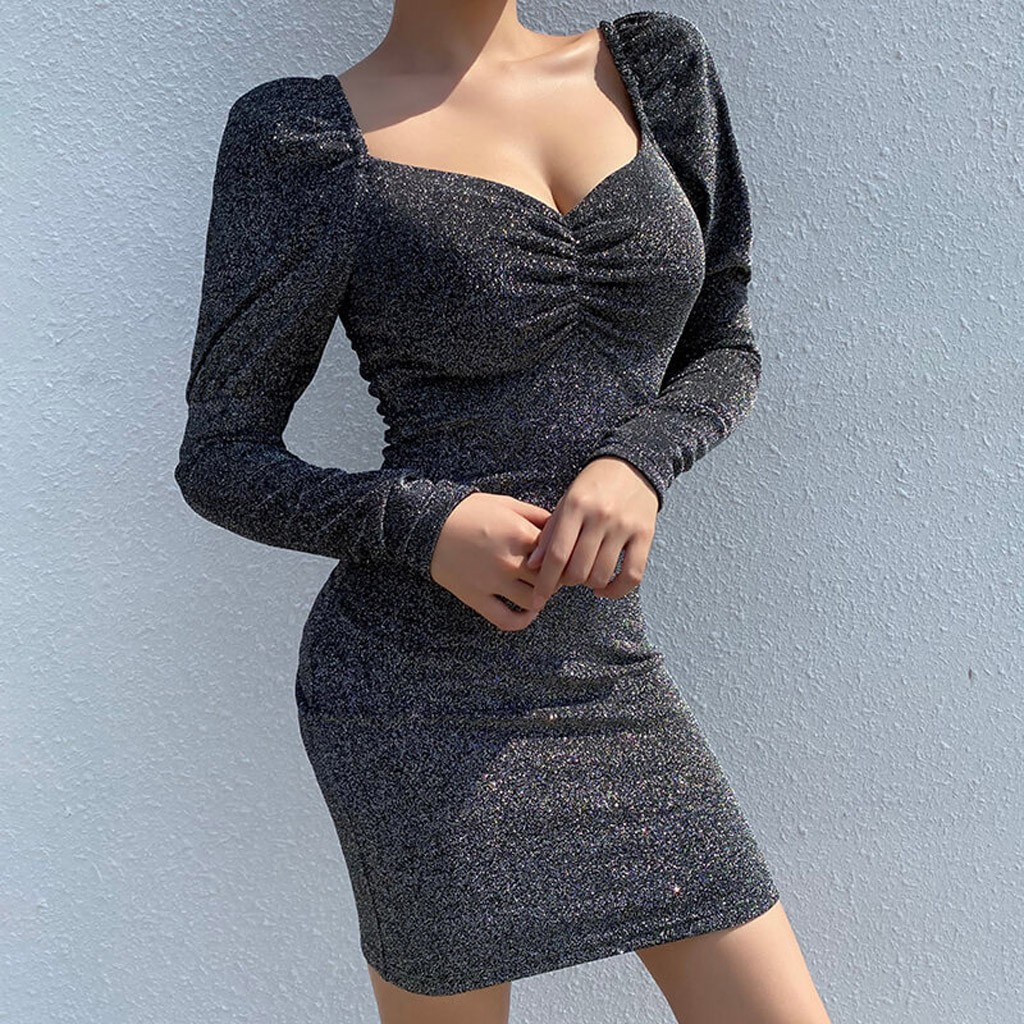 Female Dresses Office Work Women Bodycon Dress Autumn Long Sleeve V-neck Winter Sexy Mujer Mini Dress Plus Size Vestidos#J30