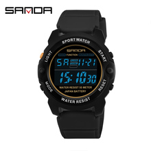 SANDA Military Sports Watches Men Analog LED Digital Clock Man Waterproof Electronic Wristwatches Relogio Relogio Masculino cheap Resin 22cm 5Bar Buckle ROUND 22 54mm 11mm Acrylic Stop Watch Back Light Shock Resistant LED display Repeater luminous Chronograph
