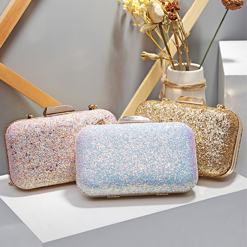 Shiny Evening Clutch Bag Handbag Luxury Women Fashion Shoulder Bags For Women Handbag Wedding Clutches Bag Chain Shoulder Bag