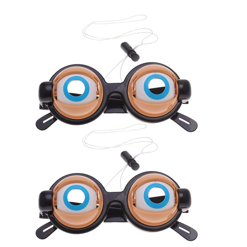 2 Pcs Party Favor Funny Pranks Glasses Crazy Eyes Toy Supplies For Birthday Gift Plastic Novelty Glasses Toys 2019 New Arrival