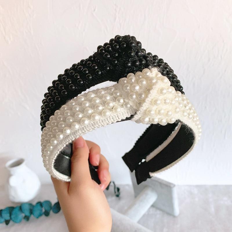 Free shipping fashion beads knot wide women hairbands girl's headbands korea style lady's   headwear   hair accessories
