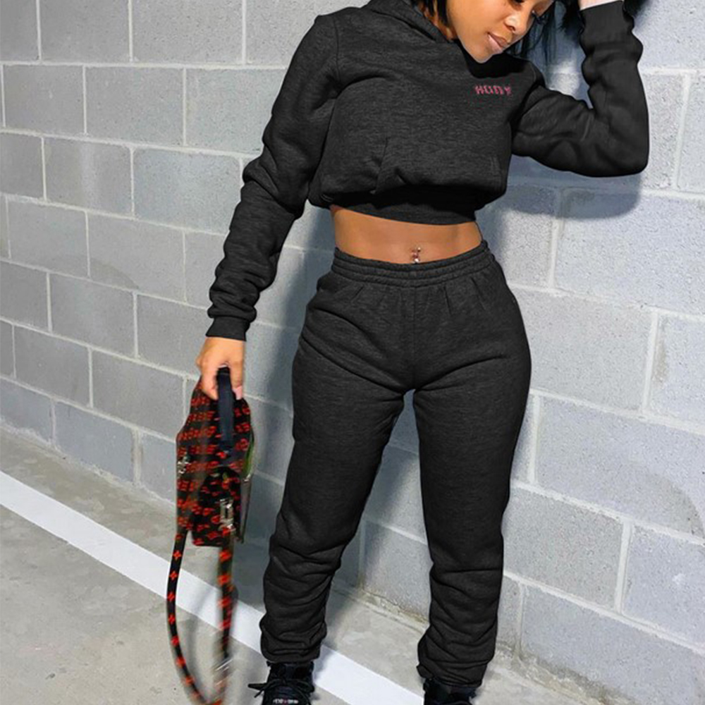 Lady Sporty 2 Piece Set Hoodies and Sweatpants Fall Winter Clothes Women Two Piece Outfits Casual Tracksuits Sweatsuits