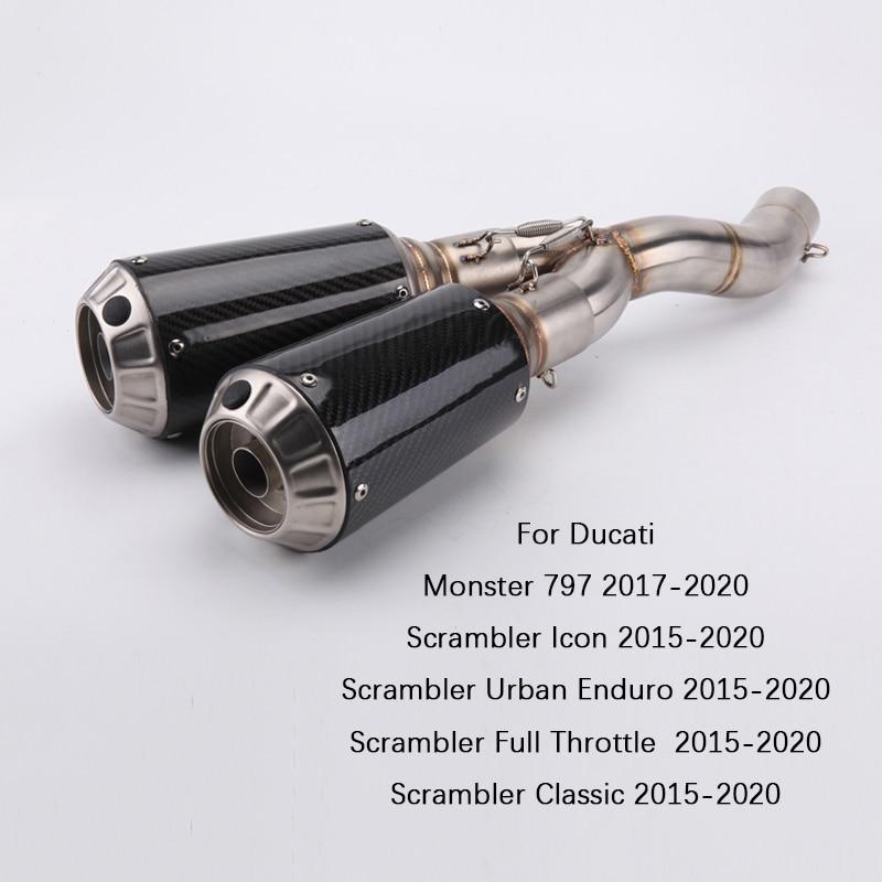 Para Ducati Scrambler 821, 800, 2015-2020 de la motocicleta tubo de escape Dual-salida tubo central antideslizante en 51mm silenciador desmontable DB asesino