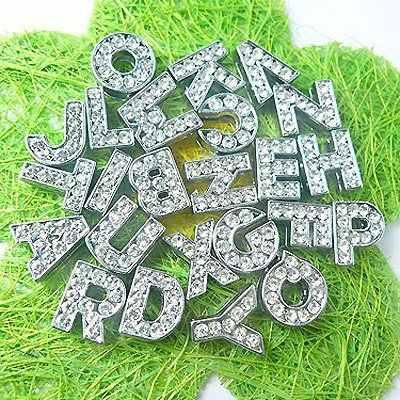 1pc A-Z di strass argento Inglese lettera di Alfabeto Diametro Interno: 10 millimetri Lettera di Presentazione di fascini Adatti DIY Braccialetto Collare Dell'animale Domestico della catena chiave