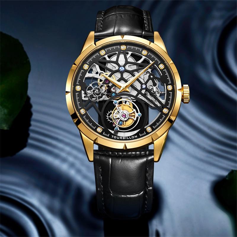 New Model GUANQIN 100% Original Tourbillon men watch top brand luxury double Skeleton Sapphire Relogio Masculino 3