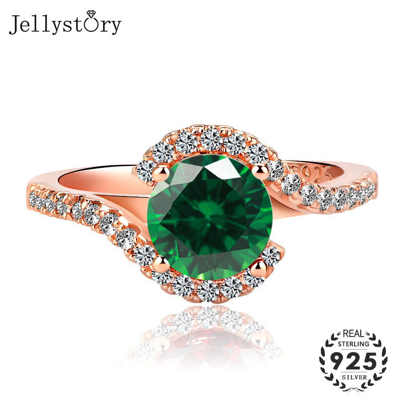 Jellystory Classic Ring for Women with 7*7mm Round shaped Emerald Ruby Zircon Gemstones 925 Silver Jewellery Wedding Party Gifts(China)