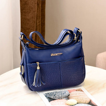 2019 New Women's Middle-aged Women's Messenger Bag Fashion Soft Leather Mother Bag Middle-aged Shoulder Messenger Bag Big Bag new casual fashion loading and unloading handle women leather handbags atmosphere wild shoulder slung middle aged mother bag