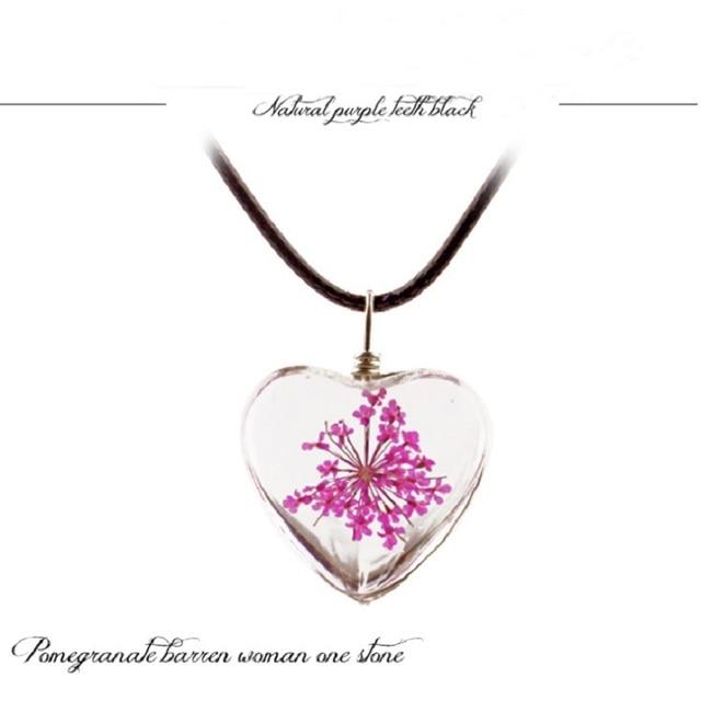 1 pc cristal de vidro seco flor pingente de trevo colar moda pequeno fresco casal decoração presente aniversário jóias homem e mulher