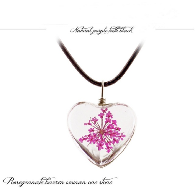 1PC crystal glass dried flower pendant clover necklace fashion small fresh couple decoration birthday gift jewelry men and women