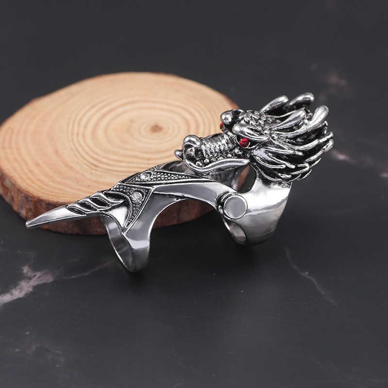 פאנק רטרו הדרקון טבעת לגברים זכר אביר גולגולת Ghost Knuckle שריון אצבע טבעות יוניסקס מגניב מסיבת תכשיטי מתנות 2019 brinco