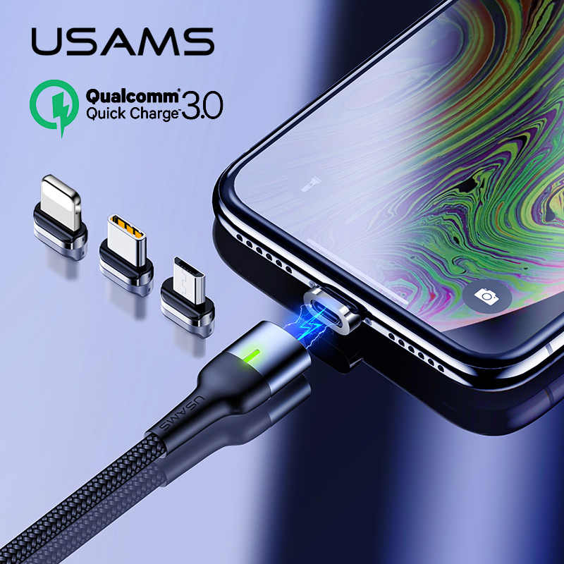 USAMS Magnetic Cable Micro usb Type C 3A Fast charging cable for iPhone Magnetic Charger microusb Magnet USB C cable for Samsung