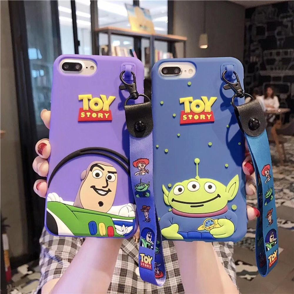 Cartoon <font><b>Toy</b></font> <font><b>Story</b></font> Buzz Lightyear Phone Case For <font><b>iPhone</b></font> 7 8 6 6s Plus Case Silicone Soft <font><b>Coque</b></font> For <font><b>iPhone</b></font> <font><b>XR</b></font> XS MAX X hand Rope image