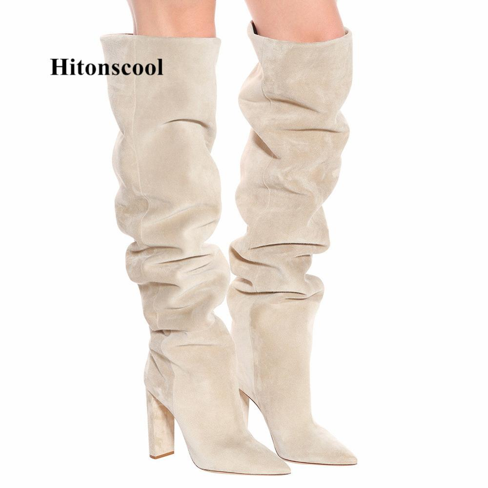 Women/'s Knee High Boots Chunky Heels Faux Suede Slouch Knight Boots Winter Shoes