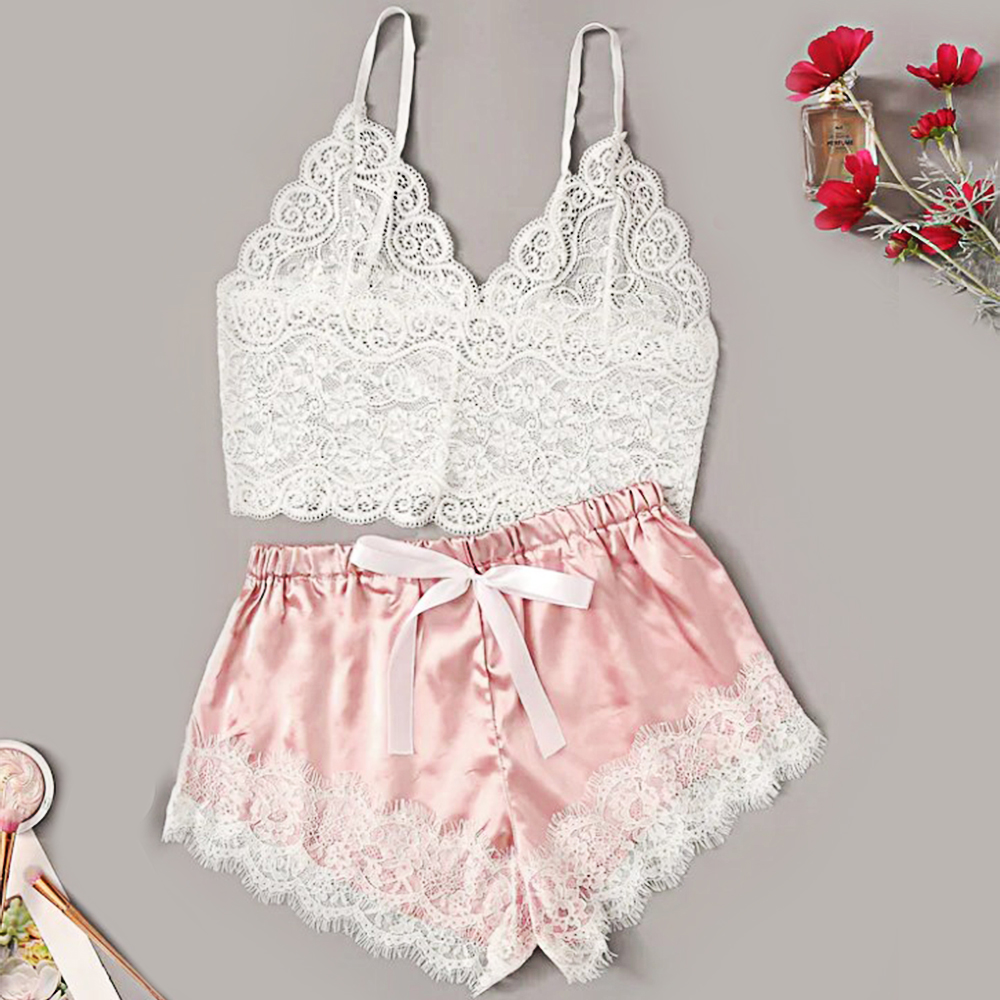 Pajamas For Women Summer Sexy Temptation Lace Pajamas Set V-collar Pijamas Set Summer Women's Cute Top And Shorts  Sleepwear