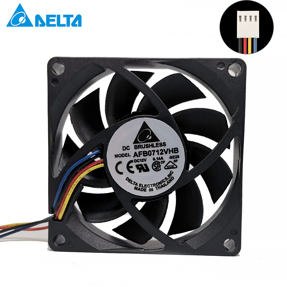 For Delta AFB0712VHB 7015 70mm X 70mm X 15mm DC Brushless PWM Mute Cooler Cooling Fan 12V 0.15A 4Wire 4Pin Connector