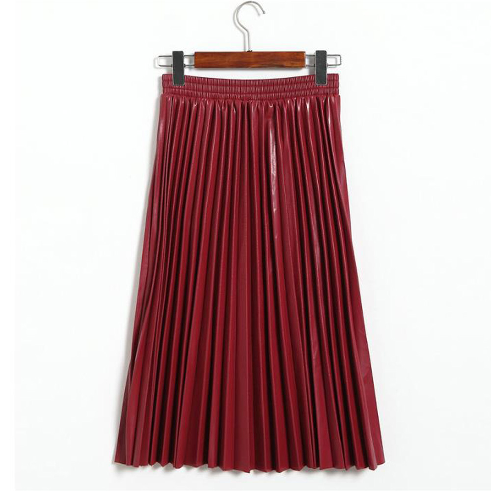 Faux Leather Skirts Ladies Fashion Elastic Waist A Line Pleated Skirt Black Wine Red Casual Punk Wetlook Long Maxi Skirts Womens image