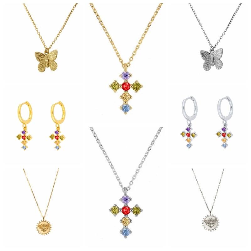 BOAKO 925 Серебряное ожерелье ювелирные изделия для женщин 2020 крест Радуга Cadena плата, модное роскошное Колье со стразами #8,5