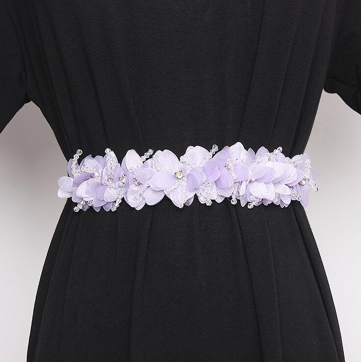 Women's Runway Fashion Flower Beaded Elastic Cummerbunds Female Dress Corsets Waistband Belts Decoration Wide Belt R2843