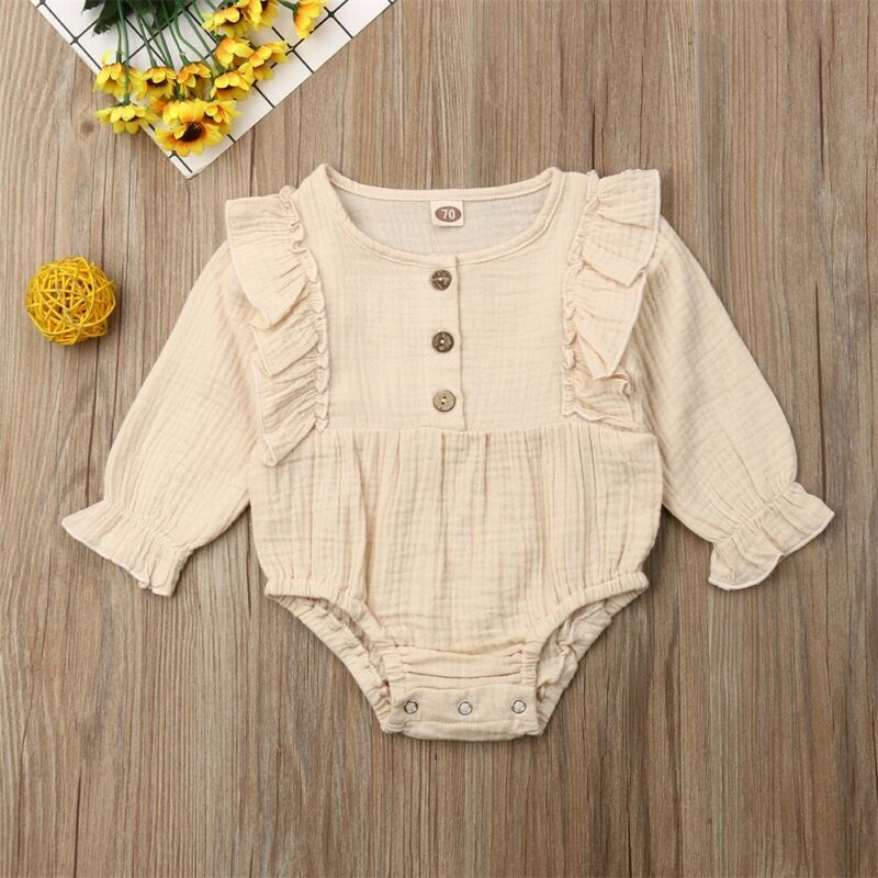0 24M Newborn Infant Baby Girl Ruffles Romper Cute Button Long Sleeve Jumpsuit Playsuit Baby Girl Costumes Autumn Spring Clothes in Rompers from Mother Kids