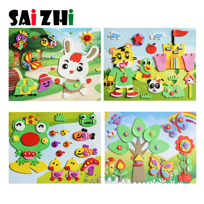 Saizhi DIY 3D Eva Stickers Toys For Children Cartoon Animal Paste Painting Kids Boy Girl Puzzle Early Learning Education Toys