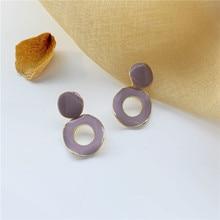 Simple Purple Circle Vintage Earrings Round Pendant Trendy