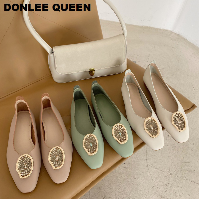 Women Shoes Flats Ballet Round Toe Slip On Casual Loafers Soft Moccasins Metal Buckle Ballerina Shoes Women Female Zapatos Mujer