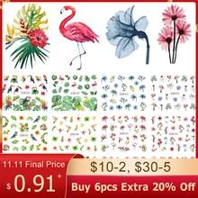 12 Designs Water Decals Slider Summer Jungle Flamingo Parrot Flora Watermark Nail Sticker Decoration Wraps Manicure BEBN865 876