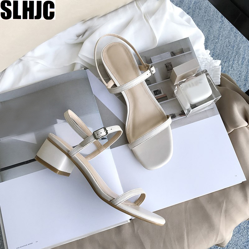 SLHJC Sandals Shoes Pumps Buckle Block-Heels Open-Toe Chunky Classic Female Fashion Summer