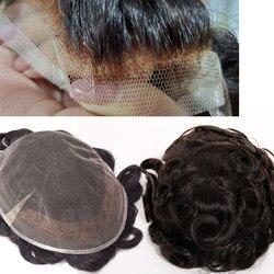 SEGO 8 ''* 10'' PU y piel de encaje suizo hombres tupé pelo humano Real no Remy hombres pelucas reemplazos densidad de cabello indio 95%