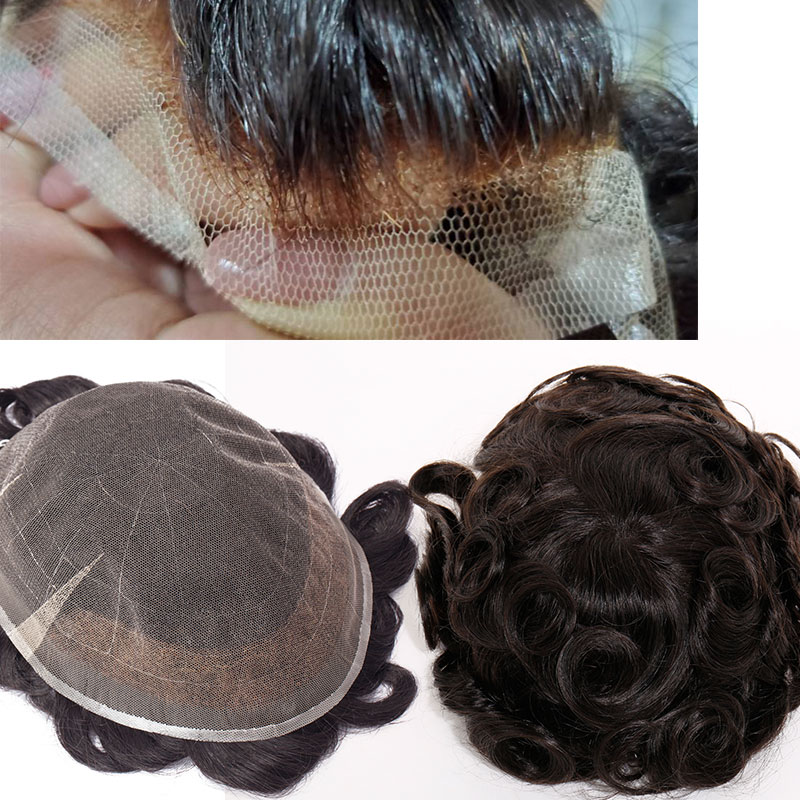SEGO 8''x10'' Lace Skin PU Men Toupee Real Human Hair Non-Remy Hair System Wig Replacements Indian Hair Density 95%