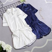 Satin Pajama Nightwear-Set Sleepwear Short-Sleeve Button-Down Women Solid FZSLCYIYI Summer