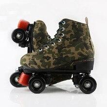 Camouflage Double Row Roller Skate Retro 4 Wheel Men Women Flash Wheel Quad Skate Martin Boots Sport Fitness Exercise Patines