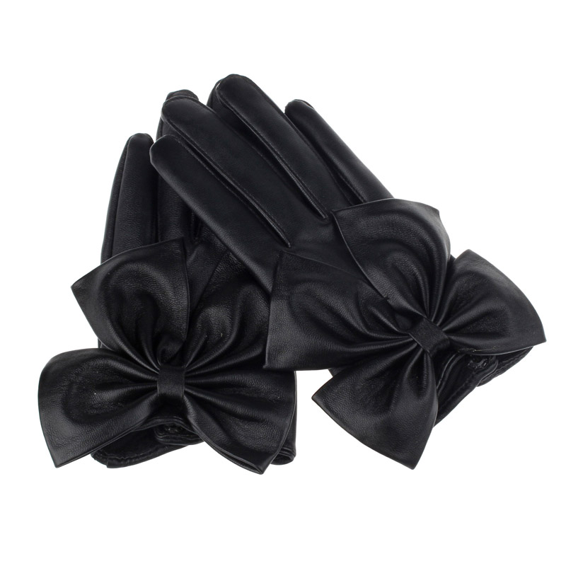 Vintage Elegant Women Gloves Butterfly Bow Wrist Soft Leather Winter Gloves Ladies Hand Gloves Handschuhe Перчатки Женские