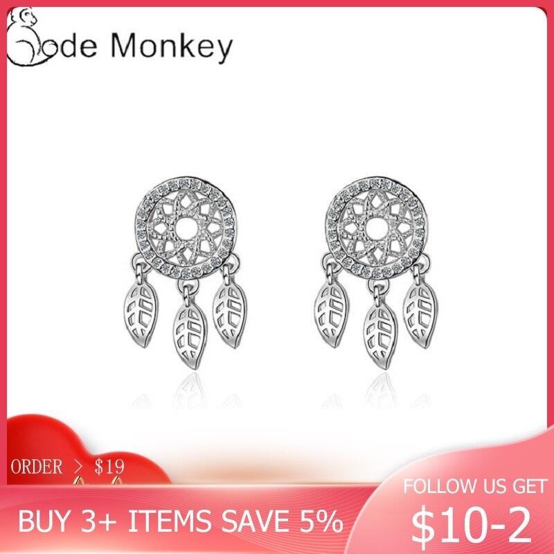 CodeMonkey Genniue 925 Sterling Silver DreamCatcher Drop Earrings For Women Classic Earring Jewelry Wedding Party Gift CME532