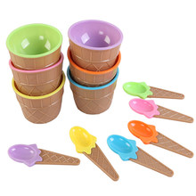 1Set Ice Cream Bowl Spoon Plastic Color Slime Clear Containers Glue Putty Foam Storage Boxes DIY Kids Kits Accessories zk30(China)