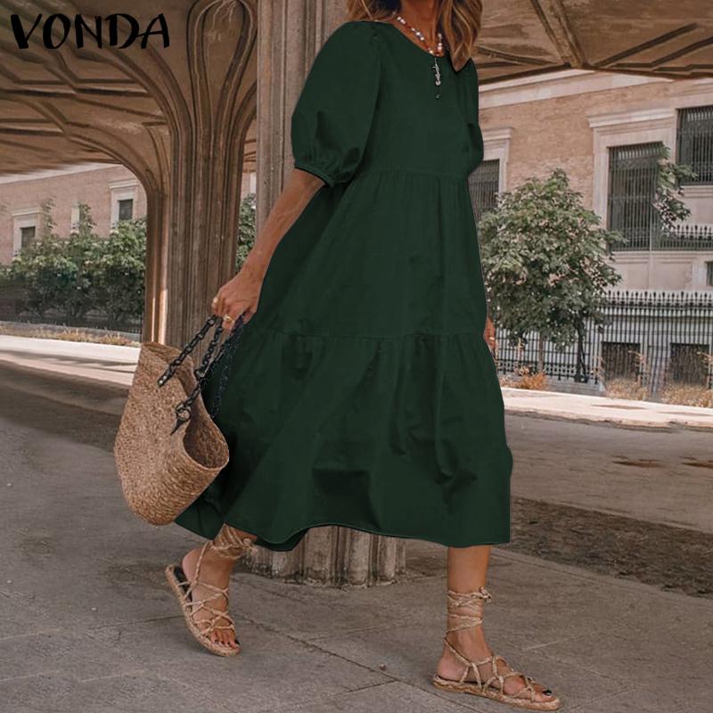 Summer Dress Elegant Party Mid Calf Dress 2021 VONDA Women'Summer Sundress Bohemian Beach Sundress Casual Vestido Plus Size