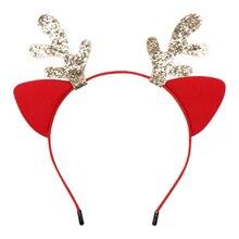 Christmas Hair Accessories Cute Ears Hairband for Girls with Glitter Deer Horn Festival Party Children's Hair Hoop Red Felt Headband Kids Hair Headwear даббинг hemingway deer hair
