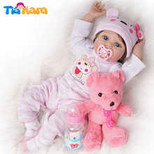 55cm Reborn Baby Dolls Girl Look Real Silicone Pink Outfit with Toy Bear